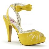 Gelb 11,5 cm Pinup retro vintage BETTIE-01 Sandaletten mit high heels