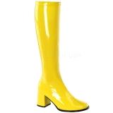 Gelb Lack 8,5 cm GOGO-300 High Heels Damenstiefel für Männer