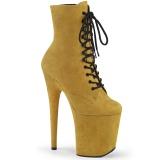 Gelb faux suede 20 cm FLAMINGO-1020FS pole dance ankle boots