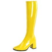 Gelbe lackstiefel blockabsatz 7,5 cm - 70er jahre hippie disco kniehohe boots gogo