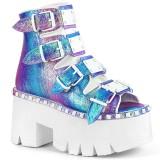 Glitter Vegan 9 cm ASHES-70 lolita ankle boots platform block heels