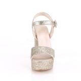 Gold 11,5 cm CELESTE-09 glitter platform sandals with block heels