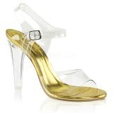 Gold 11,5 cm CLEARLY-408 Abend Sandaletten mit Absatz