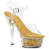 Gold 15 cm KISS-208GF glitter plateau sandaletten