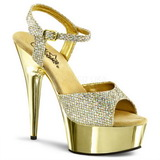 Gold 15 cm Pleaser DELIGHT-609G Chrome Plateau High Heel