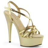 Gold 15 cm Pleaser DELIGHT-613 Sandaletten mit High Heels