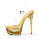 Gold 16,5 cm ECLIPSE-608GT Sandaletten mit stiletto absatz