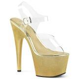 Gold 18 cm ADORE-708HG Hologramm plateau high heels