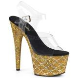 Gold 18 cm ADORE-708MSLG glitter plateau sandaletten