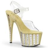 Gold 18 cm ADORE-708VLRS plateau high heels mit strass steinen