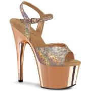Gold 18 cm ADORE-709HM glitter plateauschuhe high heels