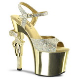 Gold 18 cm Pleaser REVOLVER-709G Chrome Plateau High Heels
