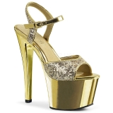 Gold 18 cm Pleaser SKY-310SQ Pailletten high heels schuhe
