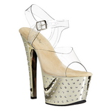 Gold 18 cm Pleaser STARDUST-708 Chrome Plateau High Heels