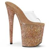 Gold 20 cm FLAMINGO-801LG glitter plateau pantoletten damen