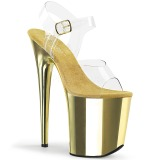 Gold 20 cm FLAMINGO-808 Chrome Plateau High Heels