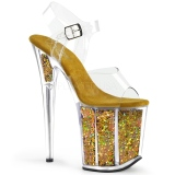 Gold 20 cm FLAMINGO-808GF glitter plateau high heels