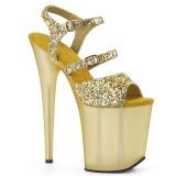 Gold 20 cm FLAMINGO-874 glitter plateau sandaletten