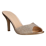 Gold 8,5 cm LUCY-01 glitter mules shoes womens