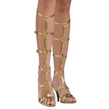 Gold 8 cm ROMAN-10 kniehohe gladiator sandalen