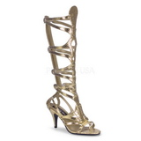 Gold 9 cm GODDESS-12 knee high womens gladiator sandals