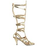 Gold 9 cm GODDESS-12 knee high womens gladiator sandals