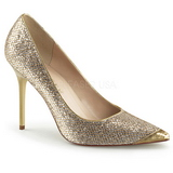 Gold Glitter 10 cm CLASSIQUE-20 Damen Pumps Stiletto Absatz
