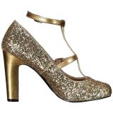 Gold Glitter 10 cm QUEEN-01 grosse grössen pumps schuhe