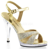 Gold Glitter 12 cm FLAIR-419G High Heel Sandaletten Damen