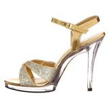 Gold Glitter 12 cm FLAIR-419G High Heel Sandaletten Damen