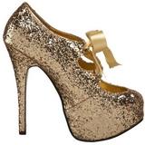 Gold Glitter 14,5 cm Burlesque TEEZE-10G Platform Pumps Schuhe