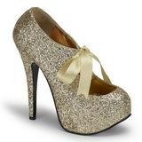 Gold Glitter 14,5 cm TEEZE-10G Platform Pumps Schuhe
