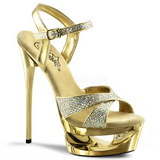 Gold Glitter 16,5 cm Pleaser ECLIPSE-619G High Heels Stilettos