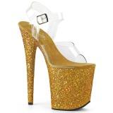 Gold Glitter 20 cm FLAMINGO-808LG Plateau Sandaletten mit hohen Absätzen