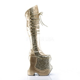 Gold Glitter 22 cm FABULOUS-3035 Overknee Stiefel für Drag Queen