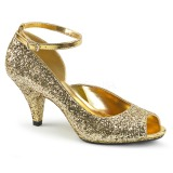 Gold Glitter 7,5 cm BELLE-381G peep toe pumps schuhe