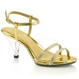 Gold Glitter 8 cm BELLE-316 High Heel Sandaletten Damen
