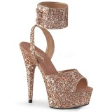 Gold Glitzern 15 cm DELIGHT-691LG pleaser high heels mit knöchelriemen