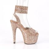 Gold Glitzern 18 cm ADORE-791LG pleaser high heels mit knöchelriemen