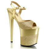 Gold Glitzern 20 cm Pleaser FLAMINGO-809-2G Plateau High Heels