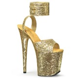 Gold Glitzern 20 cm Pleaser FLAMINGO-891LG Plateau High Heels