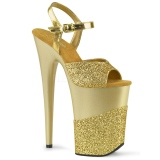 Gold Glitzern 23 cm INFINITY-909-2G Plateau High Heels