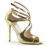 Gold Matt 13 cm AMUSE-15 Hohe Abend Sandaletten mit Absatz