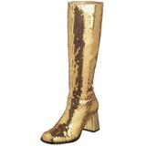 Gold Pailletten 8 cm SPECTACUL-300SQ Damenstiefel für Männer