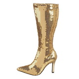Gold Pailletten 9,5 cm FUNTASMA LUST-2001SQ Damen Stiefel