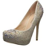 Gold Rhinestone 13 cm DESTINY-06R Platform Pumps Women Shoes