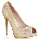Gold Satin 13 cm HEIRESS-22R Strass Plateau Pumps Schuhe
