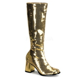 Gold Sequins 8 cm SPECTACUL-300SQ Women Knee Boots