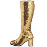 Gold Sequins 8 cm SPECTACUL-300SQ Women Knee Boots