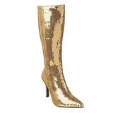 Gold Sequins 9,5 cm FUNTASMA LUST-2001SQ Women Knee Boots
